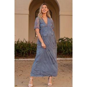Pinkblush • Lace Mesh Overlay Maternity Maxi Dress